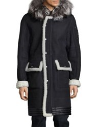 Moose Knuckles Fox Fur Trim Hooded Shearling Coat Black