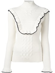 Fendi Frill Trim Jumper White
