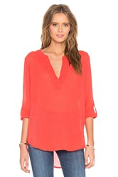 Bobi Gauze V Neck 3 4 Sleeve Top Red