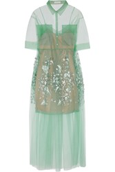 Delpozo Oversized Embroidered Tulle Gown Green
