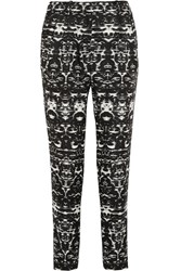 J.Crew Blurred Ikat Printed Satin Twill Tapered Pants Black
