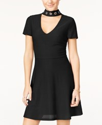 Material Girl Juniors' Embellished Fit And Flare Dress Only At Macy's Caviar Black