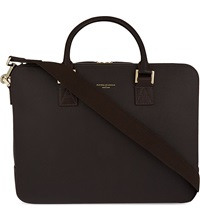 Aspinal Of London Mount Street Large Saffiano Leather Tech Bag Brown