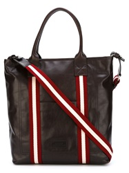 Bally Leather Tote Bag Brown