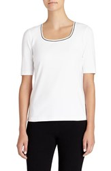 Lafayette 148 New York Women's Contrast Detail Scoop Neck Tee White