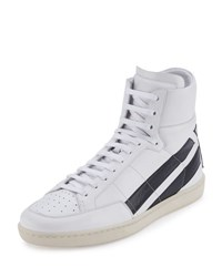 Saint Laurent Contrast Stripe Leather High Top Sneaker White Black