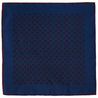John Lewis Tile Print Silk Pocket Square Navy Burgundy