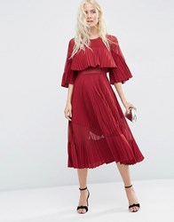 Asos Pleated Sheer And Solid Crop Top Midi Dress Oxblood Red