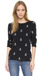 Chinti And Parker Anchor Cashmere Sweater Navy Cream
