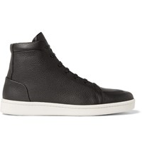 Balenciaga Full Grain Leather High Top Sneakers Black
