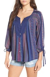 Roxy Women's 'Uptown' Geo Print Tie Sleeve Top