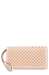 Christian Louboutin Women's 'Macaron' Studded Leather Continental Wallet Pink Mystic Pink Gold