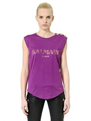Balmain Logo Printed Cotton Jersey T Shirt