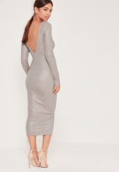 Missguided Metallic Low Back Midi Dress Silver Grey