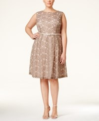 Connected Plus Size Floral Lace Belted Fit And Flare Dress Taupe Pink