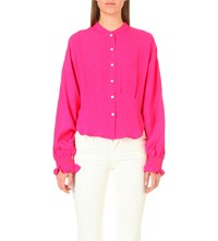 Rachel Comey Mercy Crepe Blouse Hot Pink
