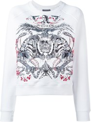 Alexander Mcqueen Tiger And Skull Embroidered Sweatshirt White