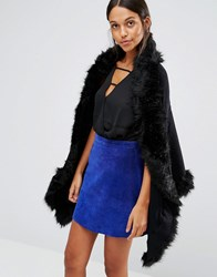 Love And Other Things Faux Fur Trim Cape Black