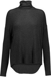 Majestic Ribbed Stretch Jersey Turtleneck Top Charcoal