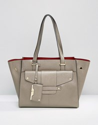 Dune Winged Tote Bag With Front Pocket Detail Pewter Grey