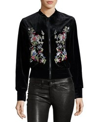 Hazel Floral Embroidered Velvet Bomber Jacket Black