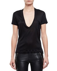 Saint Laurent Short Sleeve V Neck Silk Tee Black
