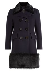 Marc Jacobs Virgin Wool Coat With Faux Fur Blue