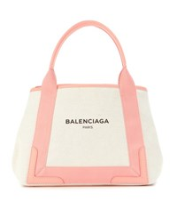 Balenciaga Navy Cabas S Canvas And Leather Shopper Beige