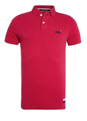 Superdry Classic Pique Plain Crew Neck Polo Shirt Hot Pink