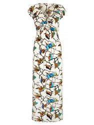 Mela Loves London Bird And Branch Print Peasant Maxi Dress White