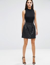 Asos Patchwork Mini Skirt In Leather Look Black