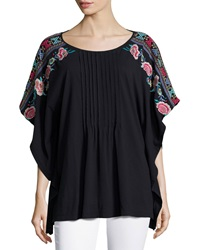 Jwla Embroidered Sleeve Pleated Poncho Black