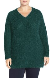 Plus Size Women's Sejour 'Happy' Eyelash Yarn V Neck Sweater Green Ponderosa