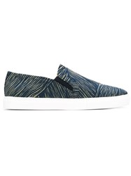 Carven Striped Slip On Sneakers Blue