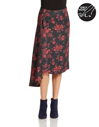 424 Fifth Floral Asymmetric Skirt True Red