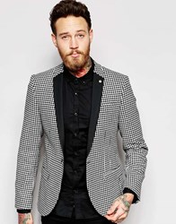Noose And Monkey Dogtooth Blazer With Contrast Lapel In Skinny Fit Black