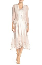 Komarov Petite Women's Beaded Charmeuse And Chiffon Midi Dress With Jacket Vintage Rose