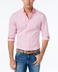 Weatherproof Men's Mini Gingham Long Sleeve Shirt Contrast Cuffs Pink