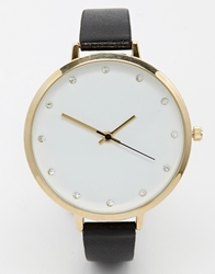 Asos Large Face Diamante Watch Black