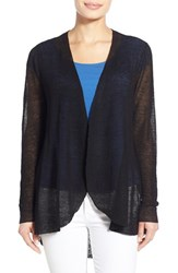 Women's Eileen Fisher Hemp Blend Curved Hem Cardigan Black