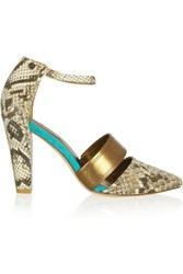 Twelfth St. By Cynthia Vincent Astrid Snake Effect Leather Pumps