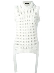 Tibi Open Knit Vest White