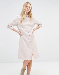 Daisy Street Shirt Dress With Elastic Waist Ecru Cream