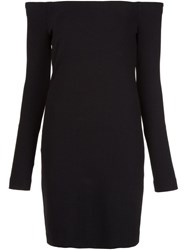 Tibi Off The Shoulder Fitted Dress Black