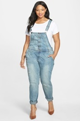 City Chic Button Front Distressed Overalls Plus Size Blue