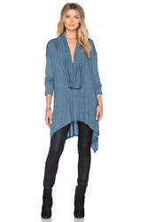 Michael Stars Long Sleeve Cowl Neck Asymmetrical Hem Poncho Blue