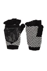 Plush Herringbone Texting Mittens Black And White