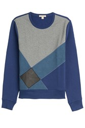 Burberry Brit Cotton Sweatshirt With Leather Blue