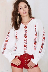 Nasty Gal Vintage Hannah Embroidered Peasant Blouse
