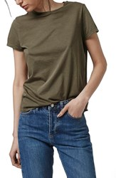 Women's Topshop Washed Cotton Tee Olive